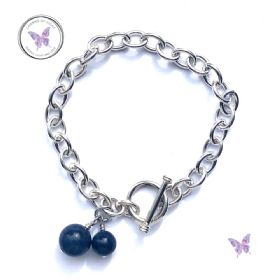 Sterling Silver Chain Link Bracelet With Dumortierite